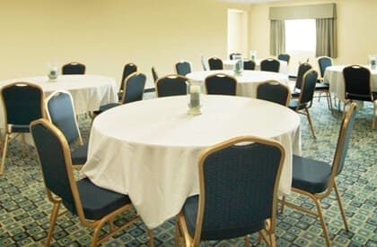 Several circle tables setup for meeting